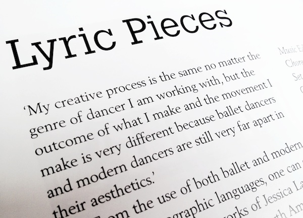 Snapshot of article on Lyric Pieces